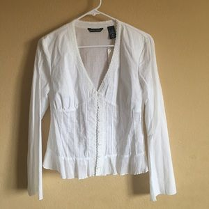 Brand New! White Button-Down Lace Blouse